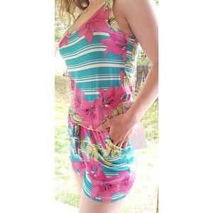 Idealle Short Romper, Pink Multicolored,  L NWT